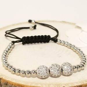 NEW Pave CZ Spheres Draw Strings Bracelets